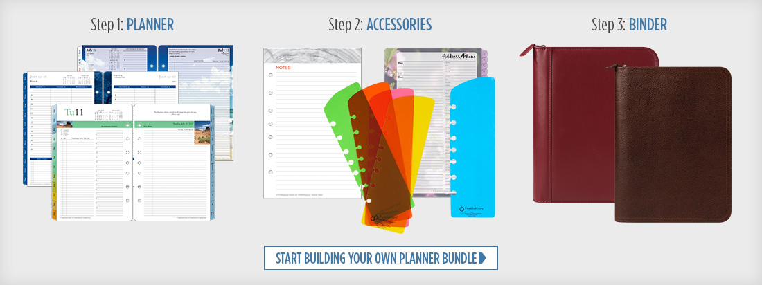 Step 1: Planner; Step 2: Accessories; Step 3: Binder/Cover. Start Building Your Own Planner Bundle