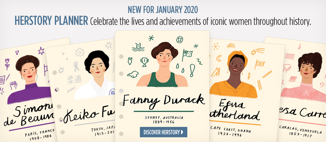 New for January 2020 - Herstory Planner - Celebrate the lives and achievements of iconic women throughout history. Discover Herstory