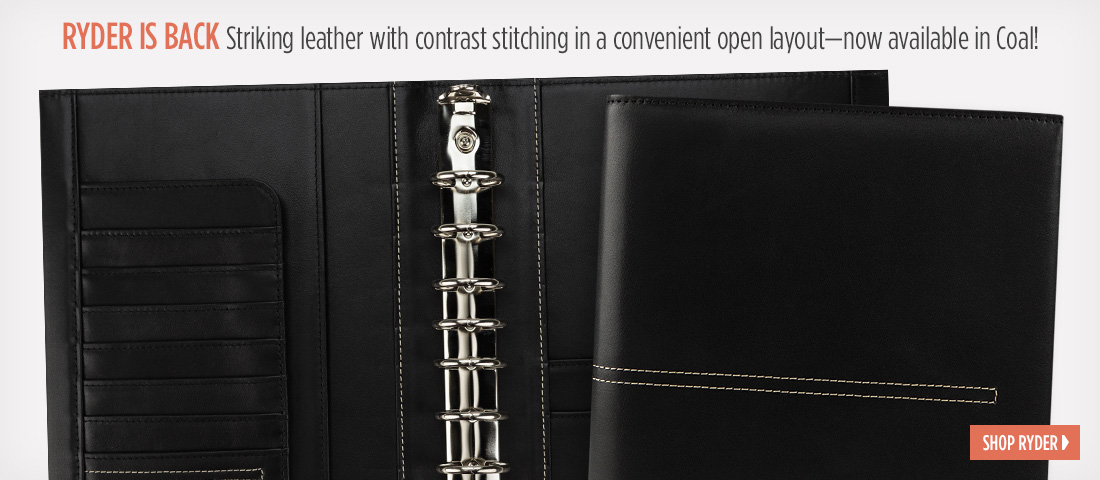 Ryder is Back - Striking leather with contrast stitching in a convenient open layout – now available in Coal