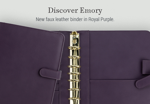 Discover Emory. New faux leather binder in Royal Purple