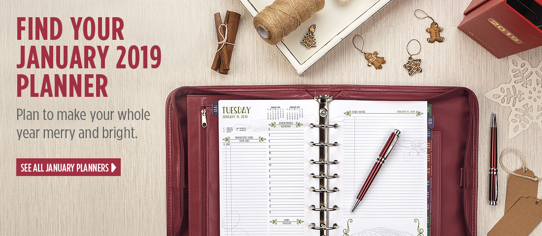 Find your January 2019 planner