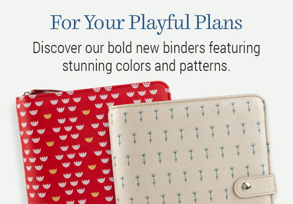 Bold new binders in colors and patterns