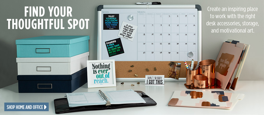Create an inspiring place to work with desk accessories, storage, and art