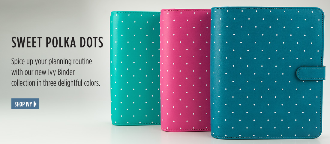 Sweet Polka Dots - Spice up your planning routine with our new Ivy Binder collection in three delightful colors