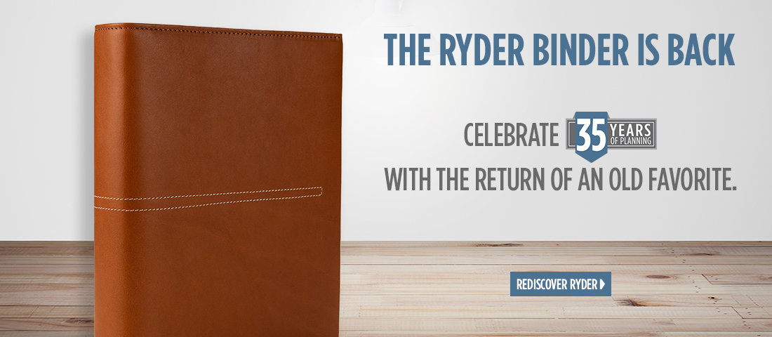 The Ryder Binder is Back - Celebrate 35 years of planning with the return of an old favorite