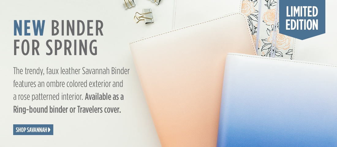 NEW Savannah Binder For Spring - Trendy faux leather Savannah Binder with an ombre colored exterior and rose patterned interior
