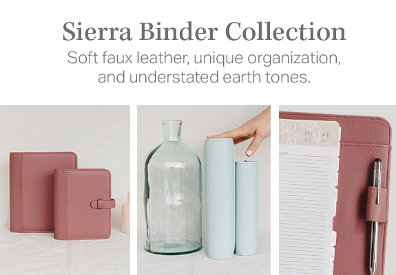 Sierra Binder Collection in understated earth tones
