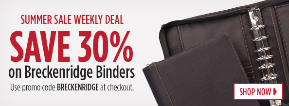 Save 30 percent on Breckenridge Binders