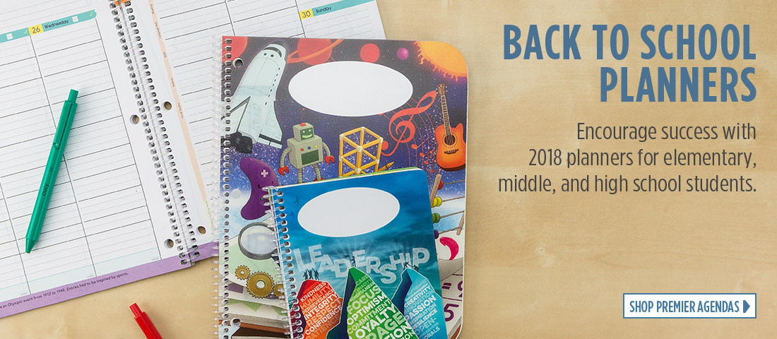 Back To School Planners - Encourage success with 2018 planners for elementary, middle, and high school students.