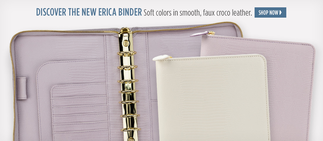 Discover the New Erica Binder. Soft colors in smooth, faux croco leather.