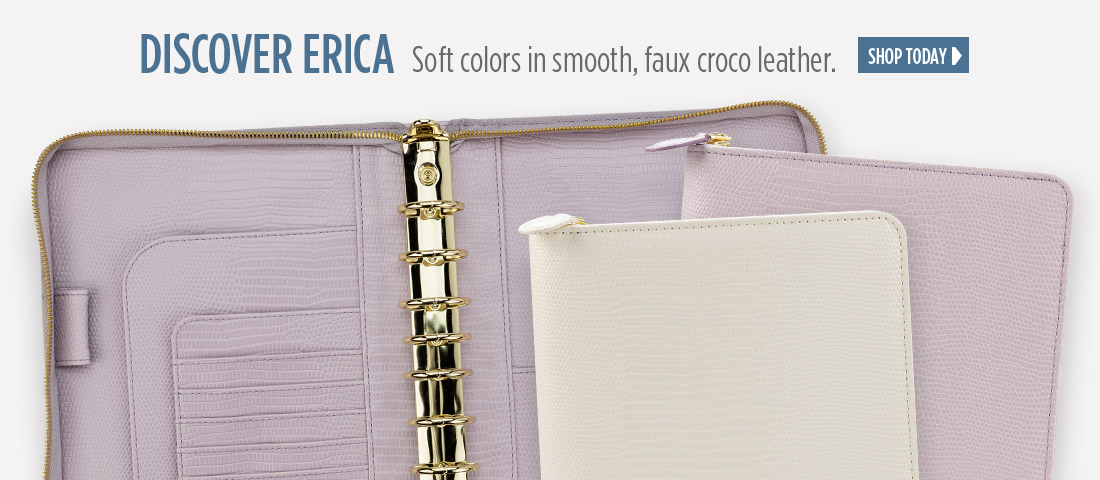 Discover Erica. Soft colors in smooth, faux croco leather