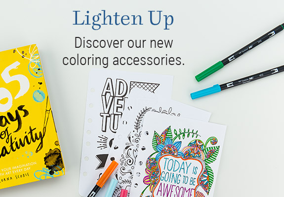 Shop coloring accessories and add a cheery pop of color to your day.