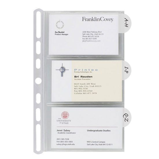 Insertables Categorized Business Card Holder Franklinplanner