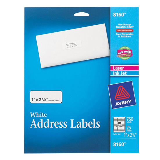 Easy Peel White Address Labels 25 Sheets