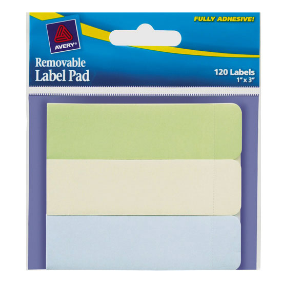 "Recycled Removable Label Pad - 1"" x 3"" - Green, Yellow, Blue"