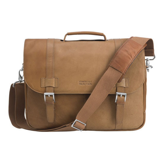 Reaction Kenneth Cole Show Business Leather Flapover Laptop Bag - Tan