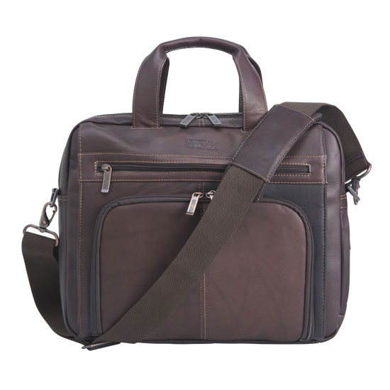 Reaction Kenneth Cole Out Of The Bag Leather Expandable Laptop Bag - Brown