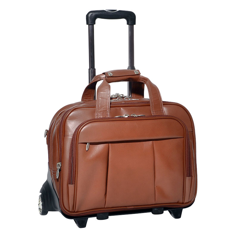 The Damen 17 Inch Detachable-Wheeled Leather Case - Brown