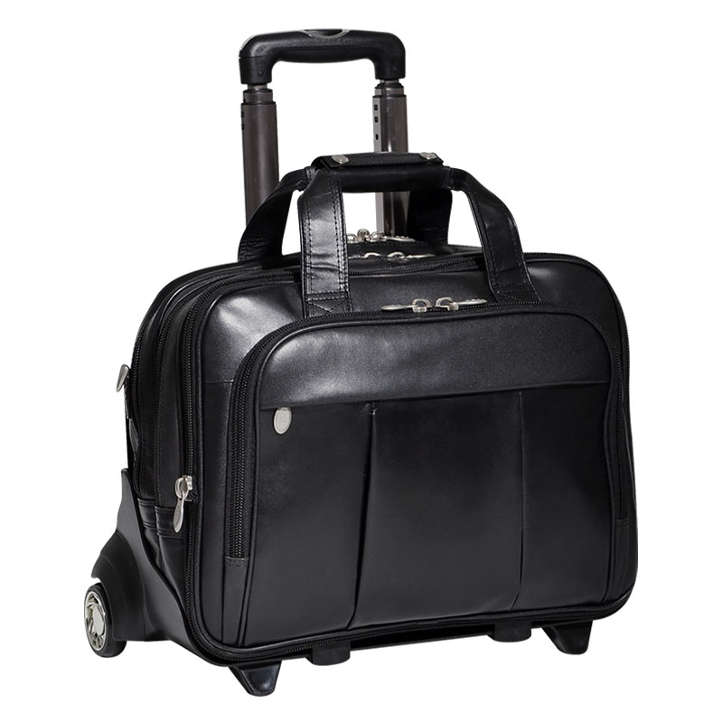 The Damen 17 Inch Detachable-Wheeled Leather Case - Black