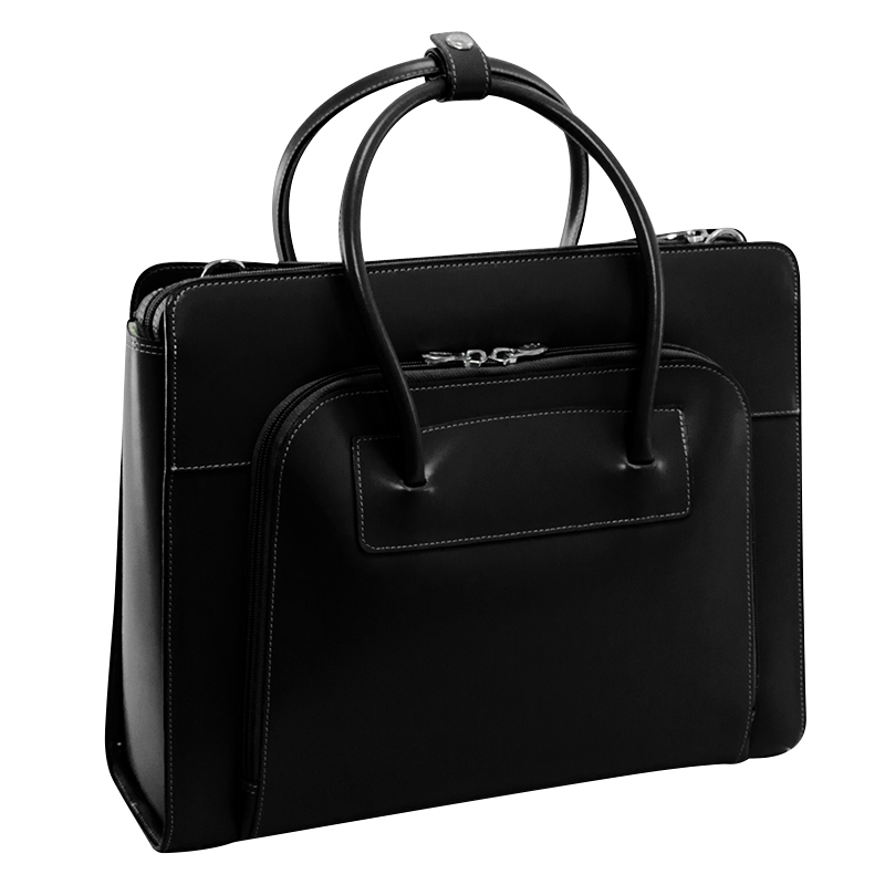Lake Forest Leather Briefcase - Black