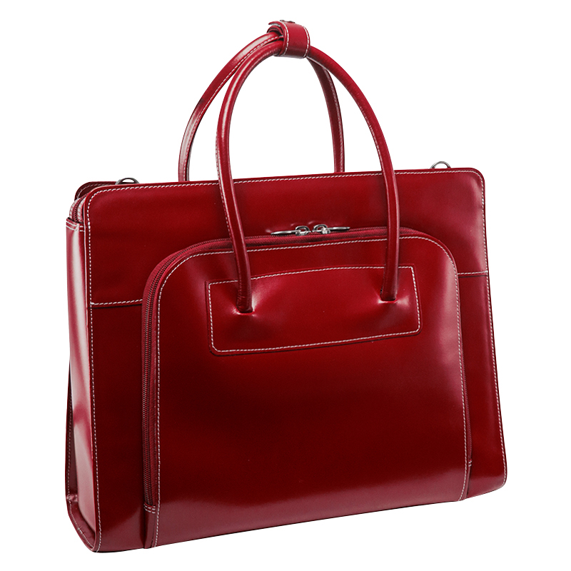 Lake Forest Leather Briefcase - Red