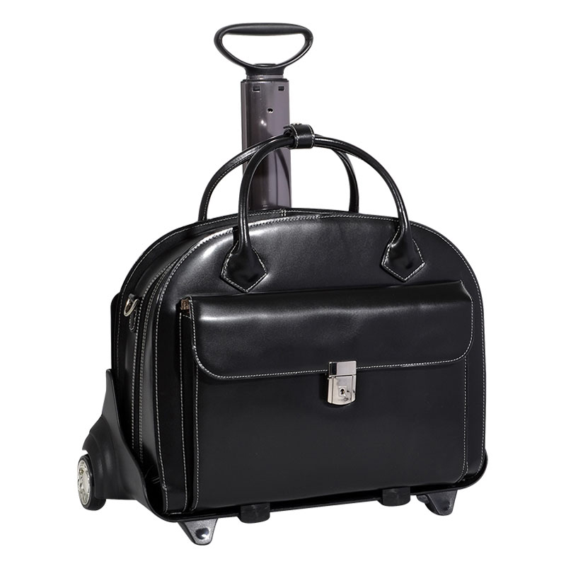 Glen Ellyn Detachable-Wheeled Ladies Briefcase - Black