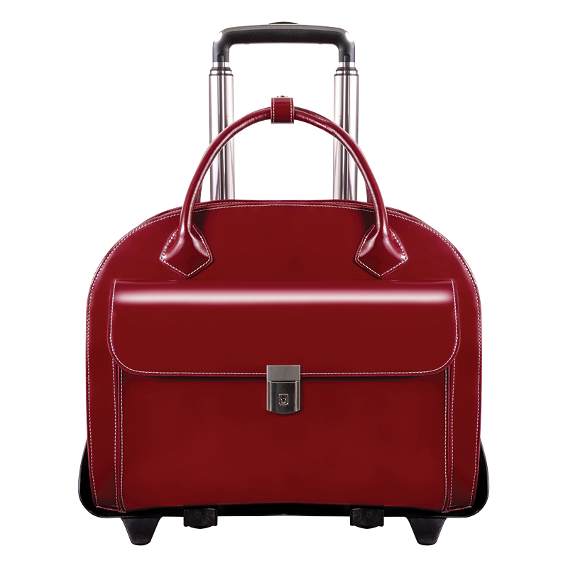 Glen Ellyn Detachable-Wheeled Ladies Briefcase - Red