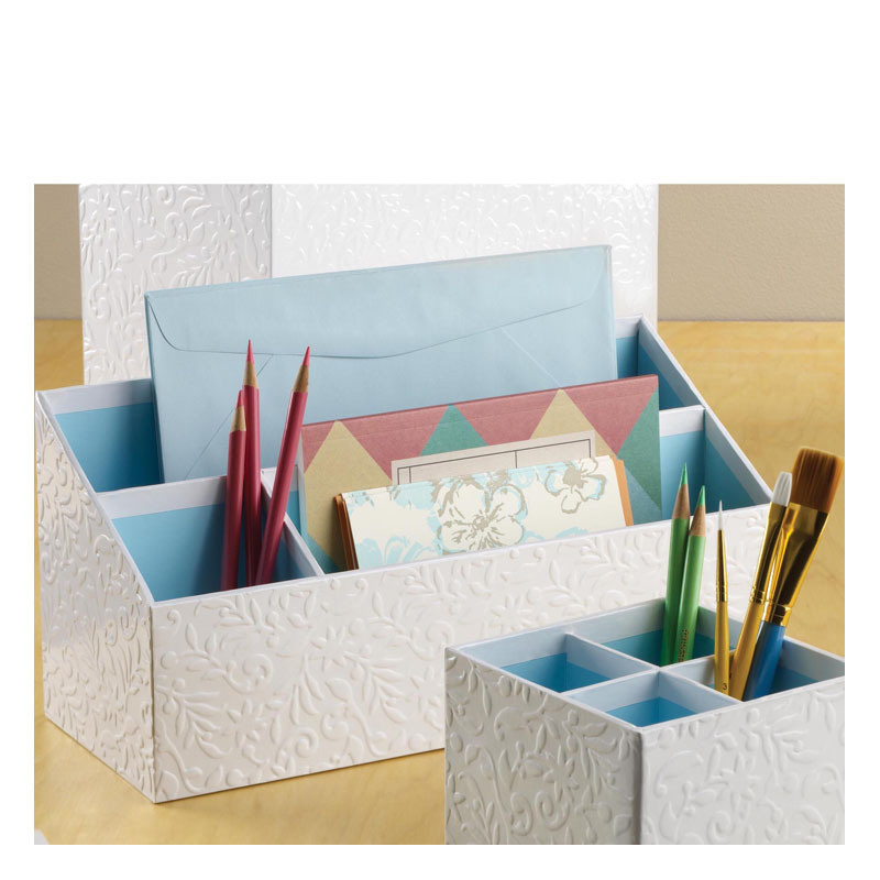 Flora Desk Organizer - White/Blue