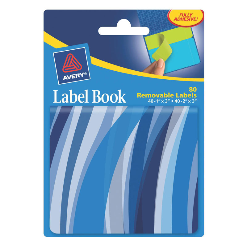 Removable Label Book - Blue Wavy
