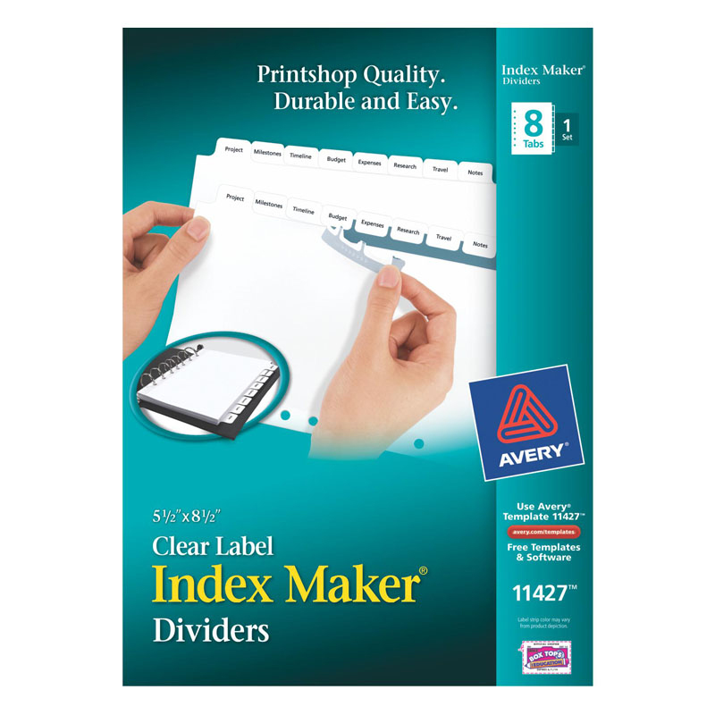 IndexMaker 8 Tab Universal Punch 8.5 x 5.5 - White