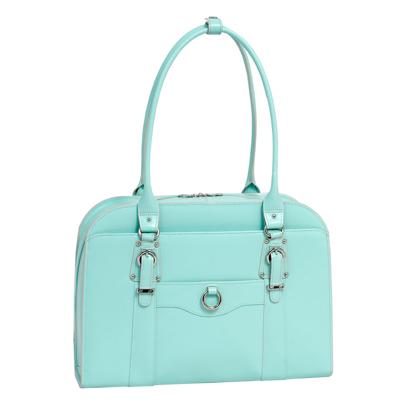 Hillside Leather Ladies Briefcase - Blue