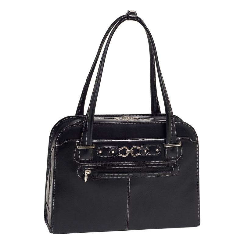 Oak Grove Leather Ladies Briefcase - Black