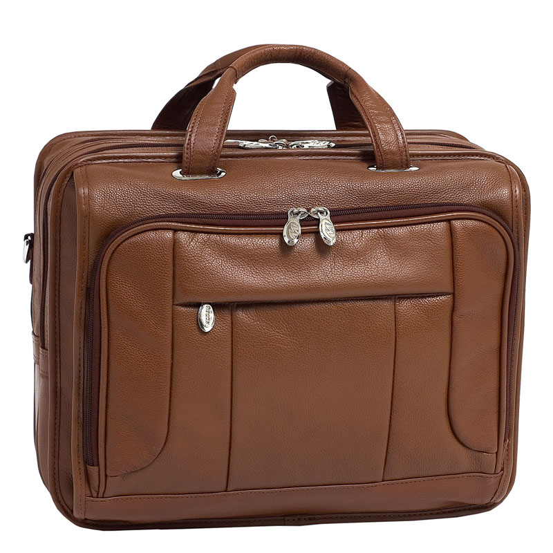 The River West Leather 17 Inch Fly Through Laptop Case - Brown