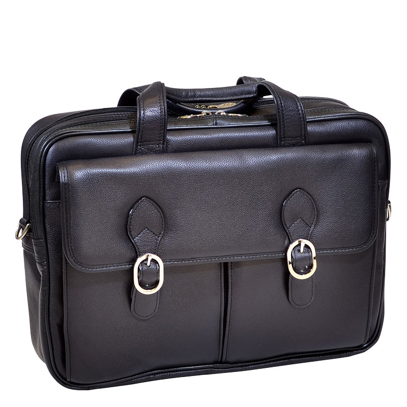 The Kenwood Leather Double Compartment Laptop Case - Black