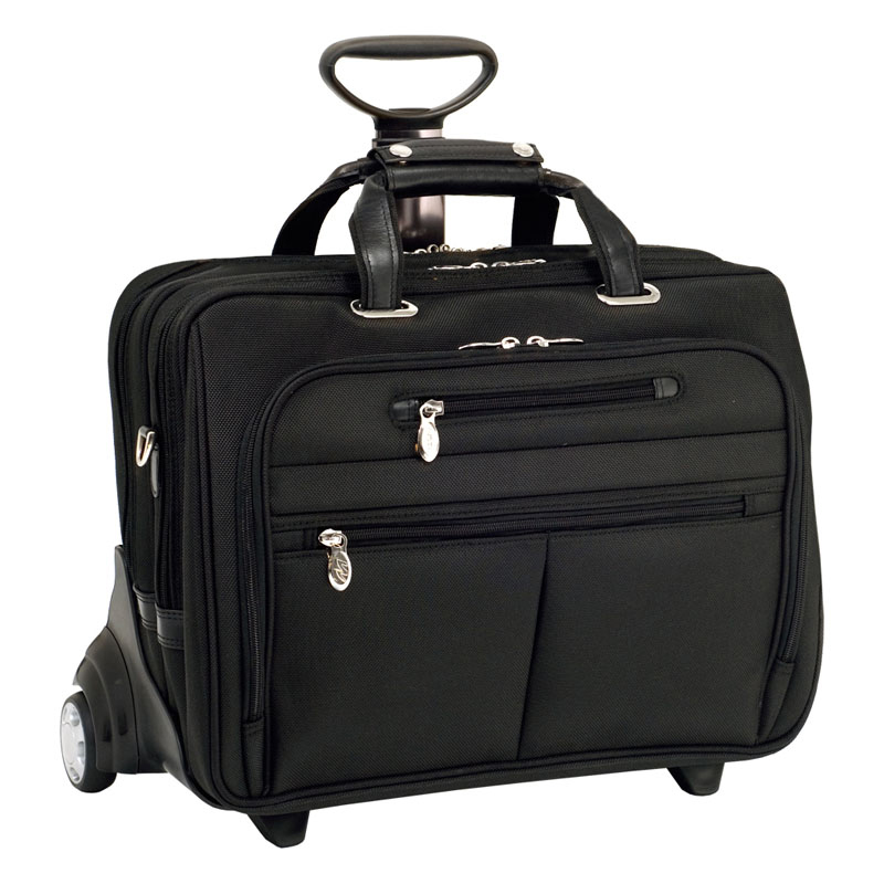 Ohare Nylon Fly-Through Checkpoint-Friendly 2-in-1 Removable Wheeled 17 Inch Laptop Case - Black