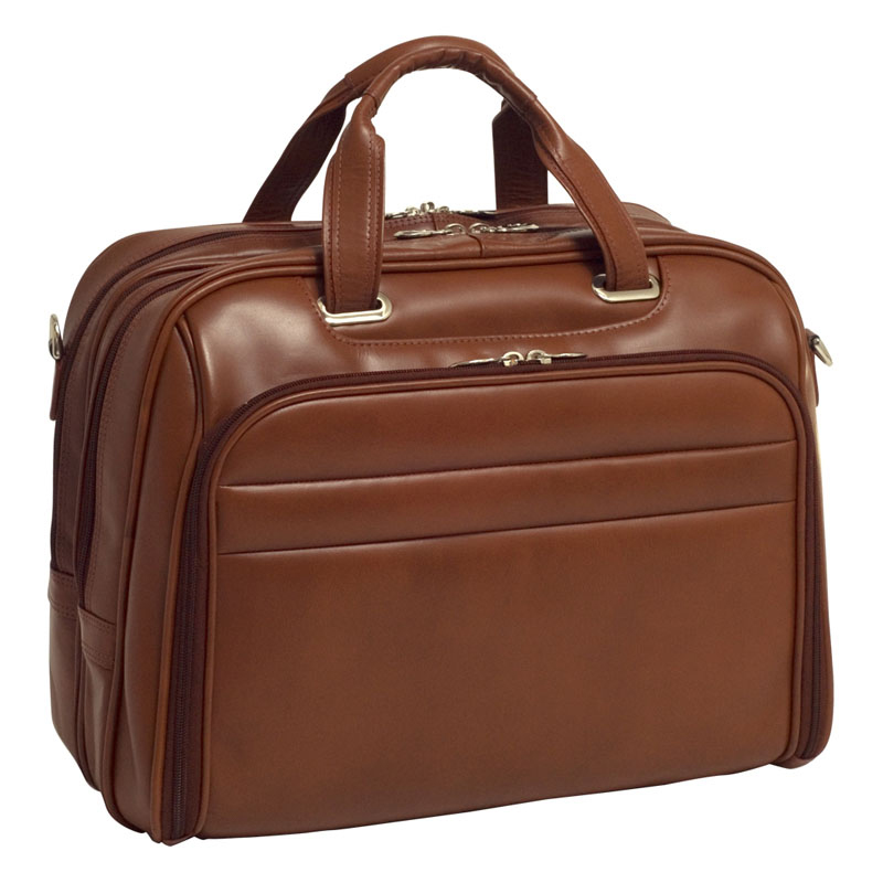 Springfield Leather Fly-Through Checkpoint-Friendly 17 Inch Laptop Case - Brown