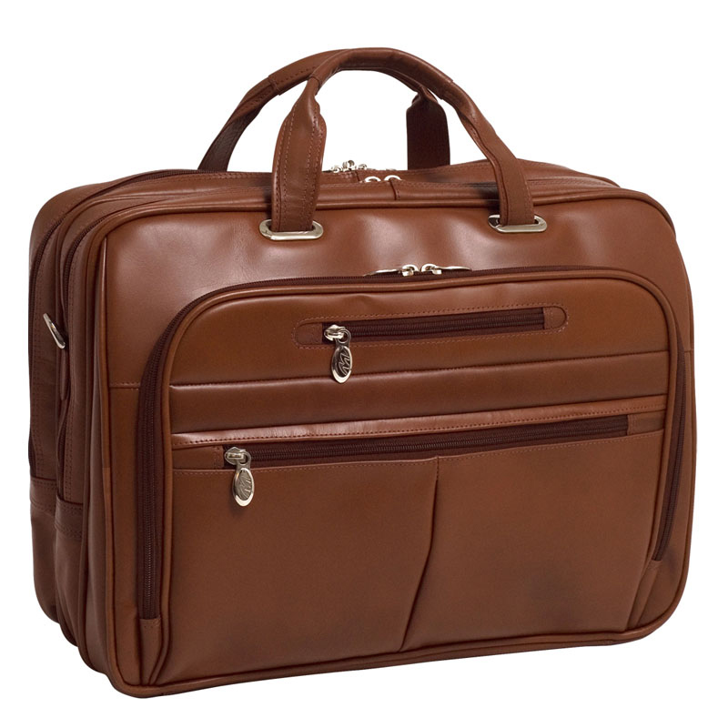 Rockford Leather Fly-Through Checkpoint-Friendly 17 Inch Laptop Case - Brown