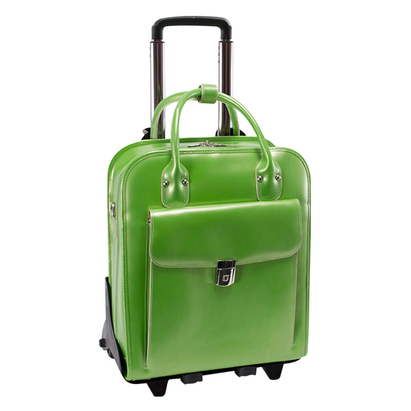 La Grange Vertical 2-in-1 Removable Wheeled Ladies' Briefcase - Green