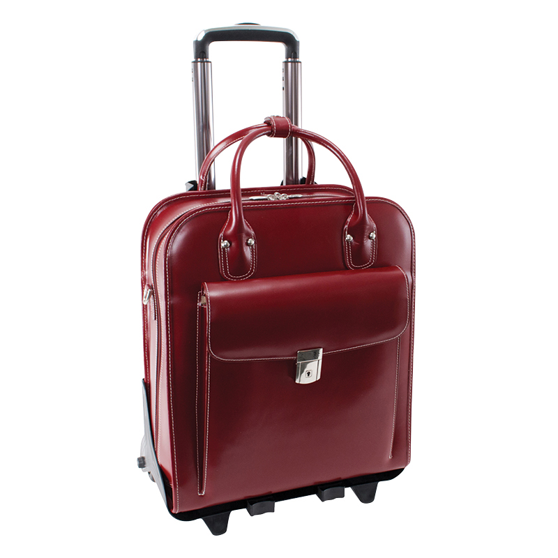 La Grange Vertical 2-in-1 Removable Wheeled Ladies' Briefcase - Red