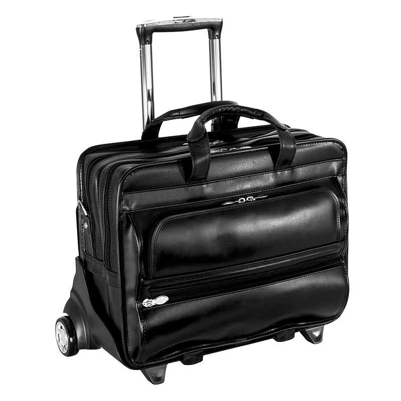 Franklin Leather 2-in-1 Removable Wheeled 15 Inch Laptop Case - Black
