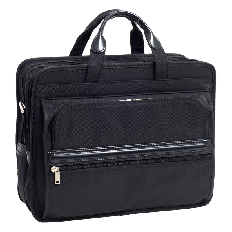 Elston Nylon Double Compartment Laptop Case - Black