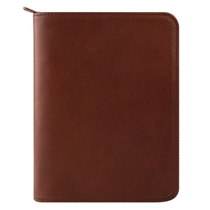 Classic FC Signature Unstructured Leather Zipper Binder - Brown