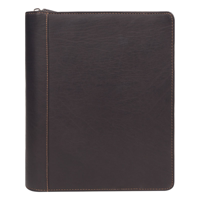 Classic Breckenridge Leather Zipper Binder - Brown