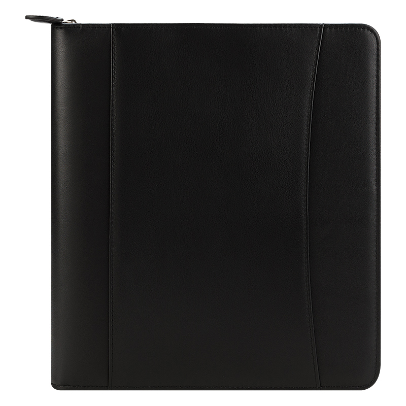 Monarch FC Signature Nappa Leather Zipper Binder - Black