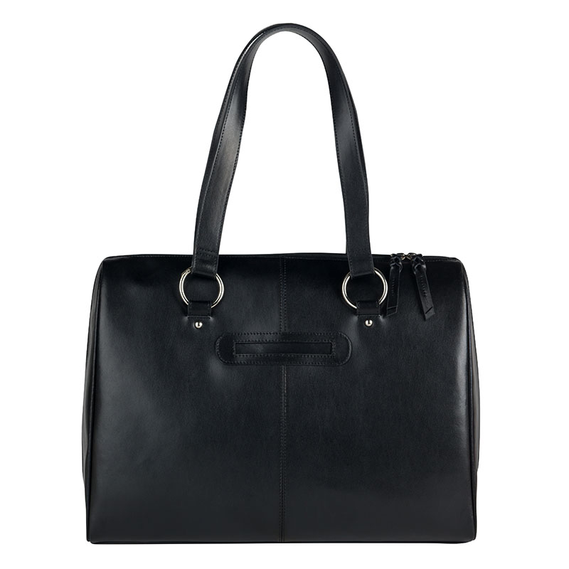 FC Signature Leather Laptop Tote - Black
