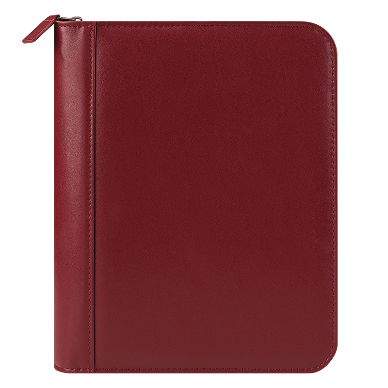 Classic FC Basics Leather Zipper Binder - Red