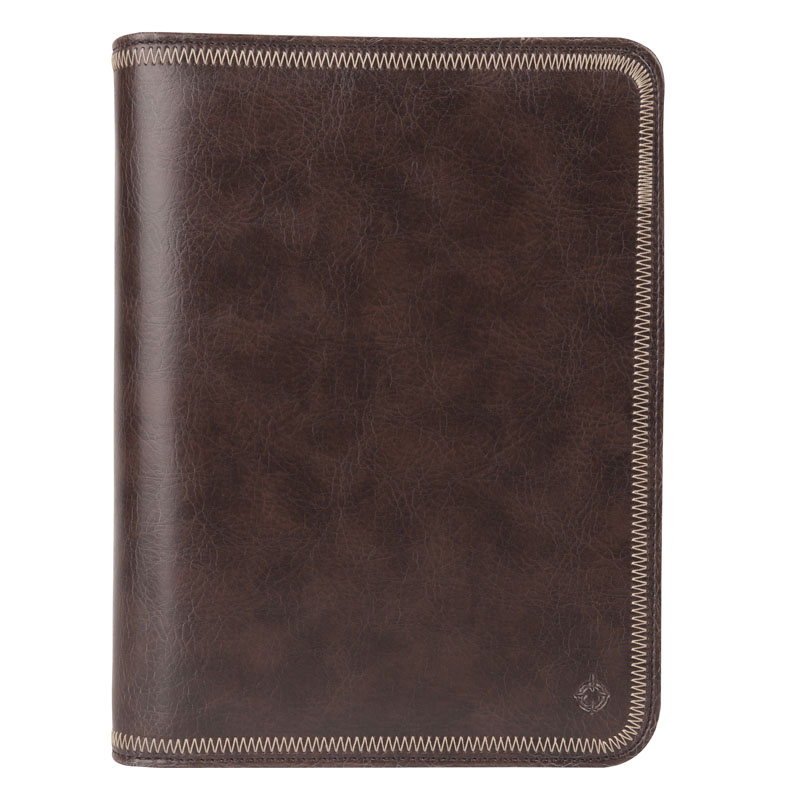 Classic Simulated Leather Zipper Binder - Brown