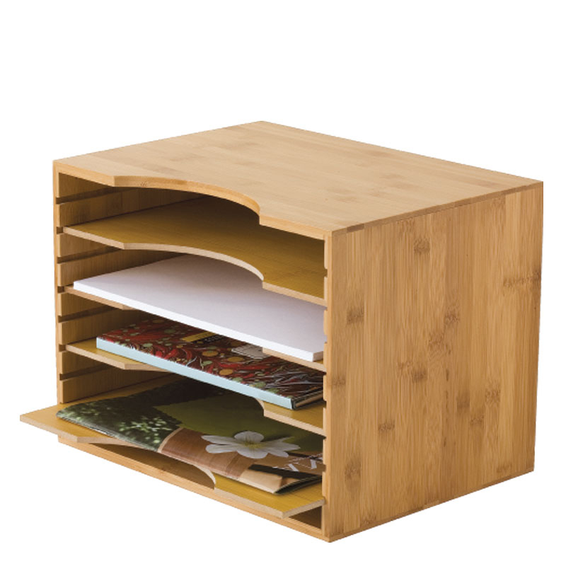 File Organizer w/ 4 Dividers - Bamboo