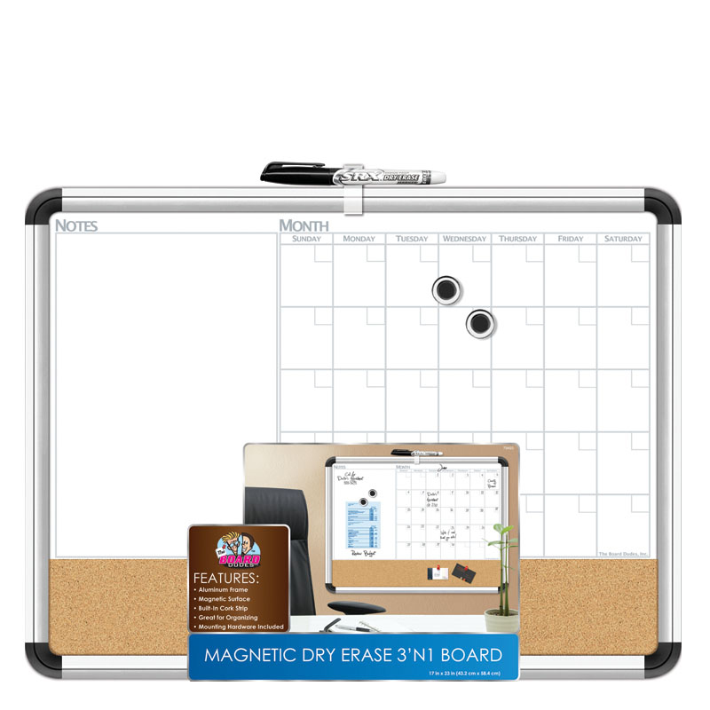 Magnetic Dry Erase 3 N 1 Board Metal Frame 17 X 23 Franklincovey