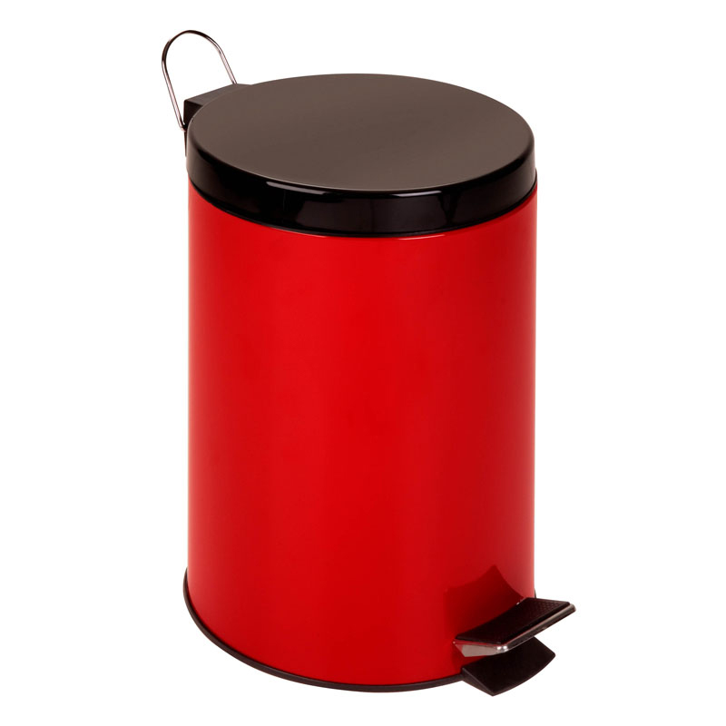 12L Step Trash Can - Red